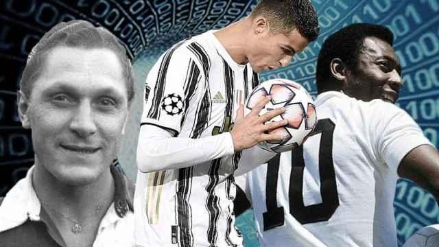 Bican, Cristiano Ronaldo y Pelé, en un fotomontaje