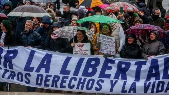 Una imagen de la marcha negacionista. del sábado.