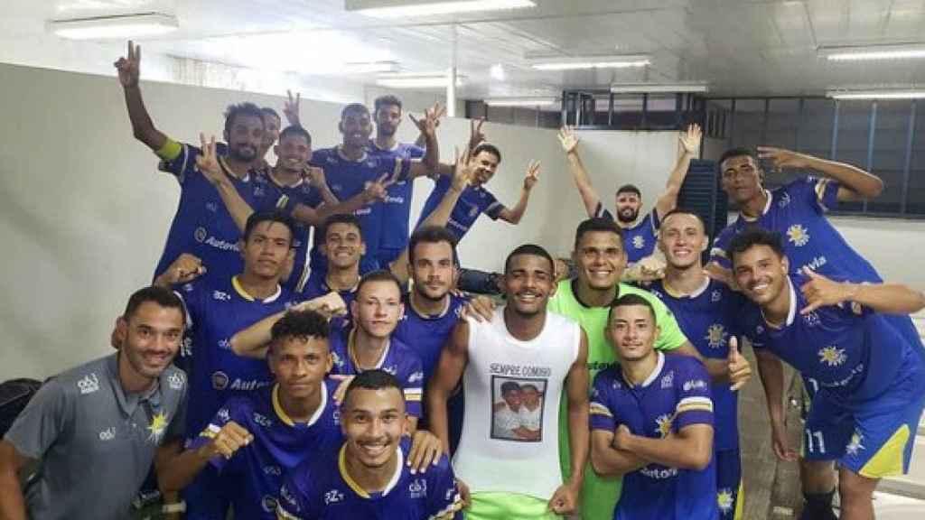 La celebración del Palmas Fútbol tras su victoria y clasificación para la Copa Verde