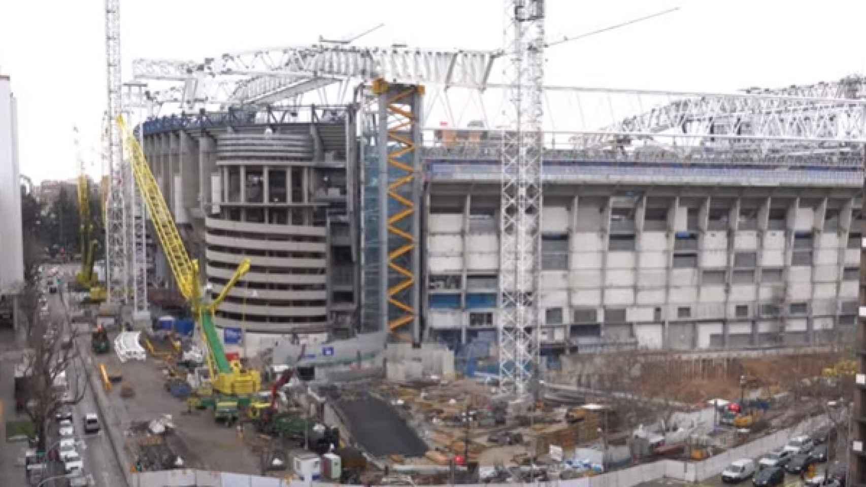 La desaparición de la nieve desvela un detalle en las obras del parking del Santiago Bernabéu