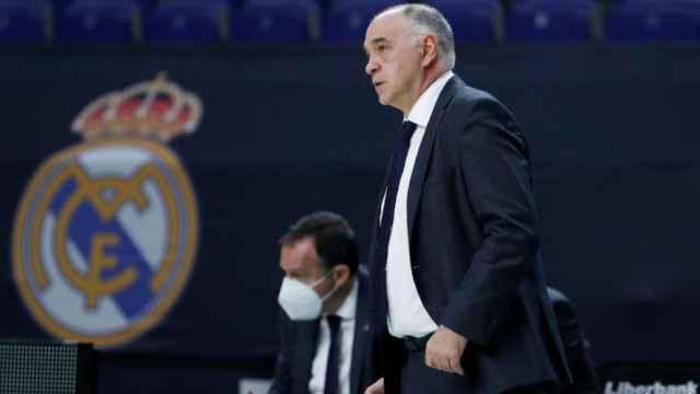Pablo Laso en el banquillo del Real Madrid