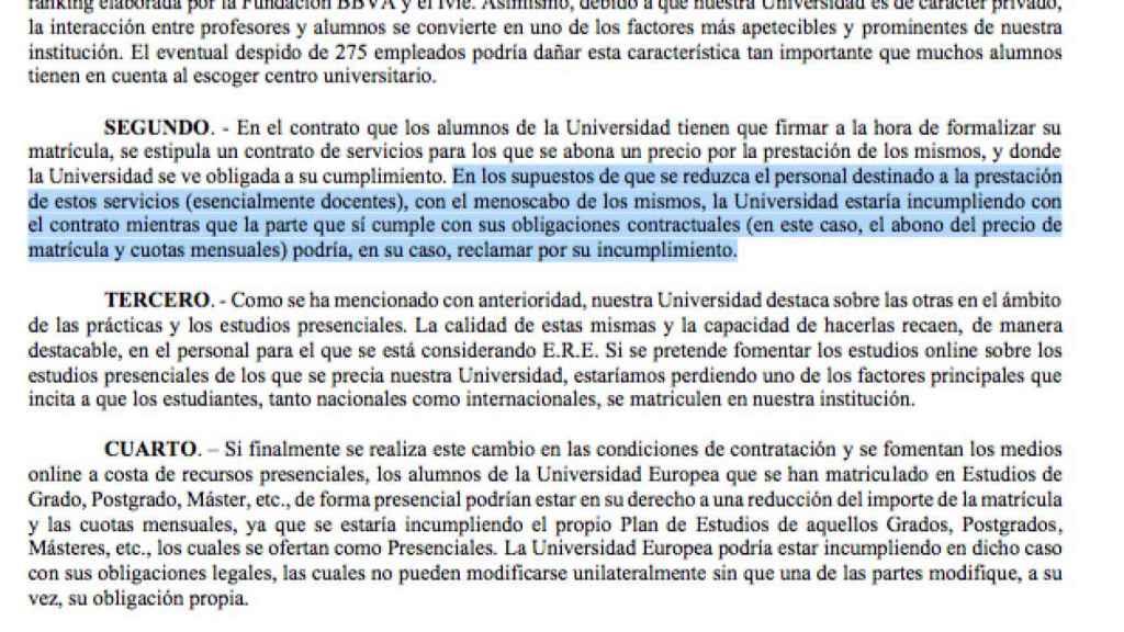 Comunicado de la Asociación de Estudiantes de Psicología de la Universidad Europea de Madrid.