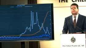 El primer ministro de Gibraltar, Fabian Picardo, en una comparecencia reciente sobre la pandemia.
