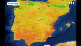 Mapa de calor de la Península Ibérica durante el episodio de altas temperaturas. Meteored.