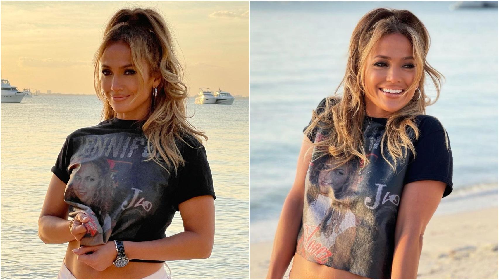 Jennifer Lopez haciendo un homenaje a su vídeo para 'Love don't cost a thing'.