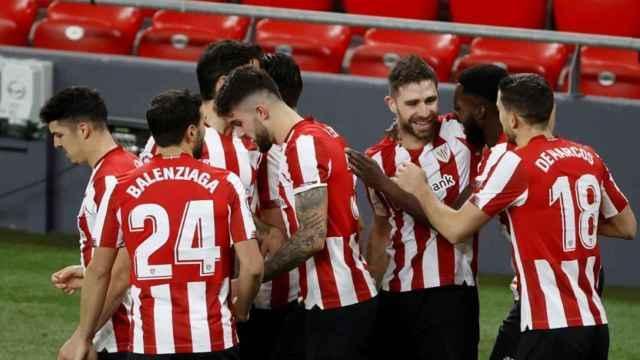 Los jugadores del Athletic celebran un gol al Getafe en La Liga