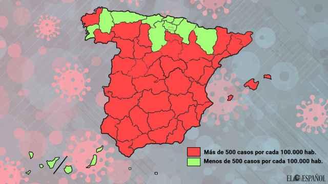 Mapa de las provincias de España según su incidencia acumulada.