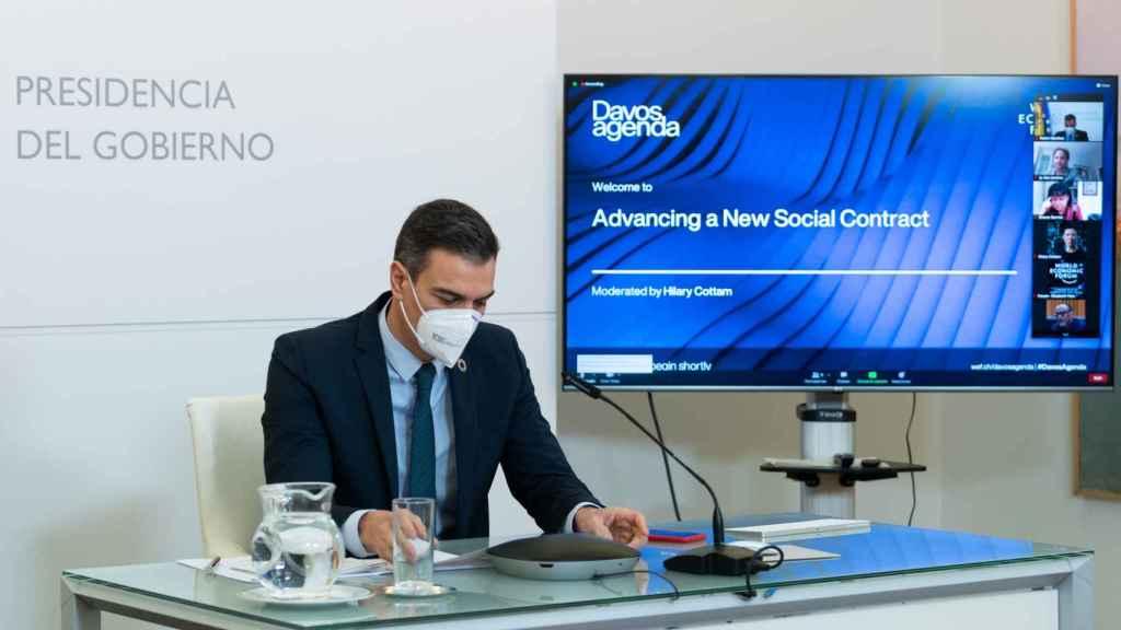 El presidente del Gobierno, Pedro Sánchez, participa en el foro de Davos virtual.