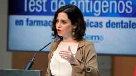 La presidenta de la Comunidad de Madrid, Isabel Díaz Ayuso, este martes en rueda de prensa.