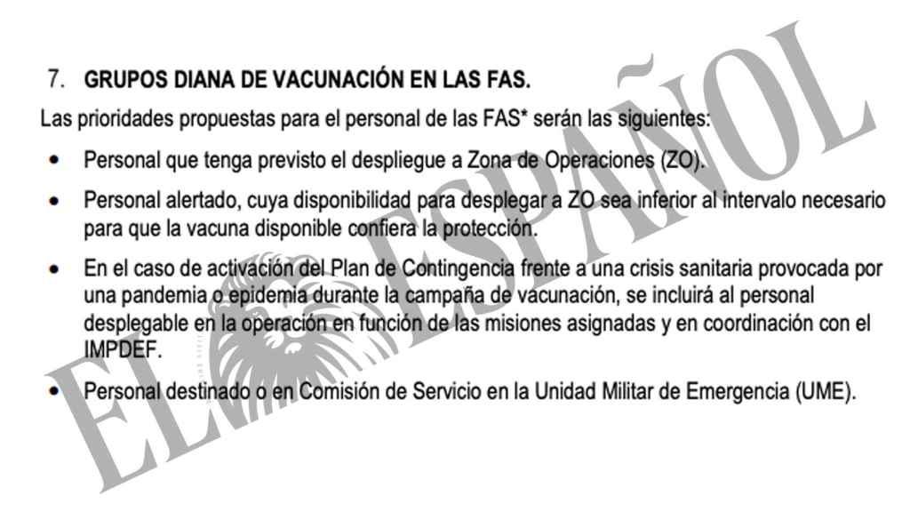 Una parte del documento oficial en el que se afirma que el personal desplegado es grupo prioritario de vacunación