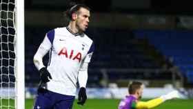 Bale durante un partido con el Tottenham