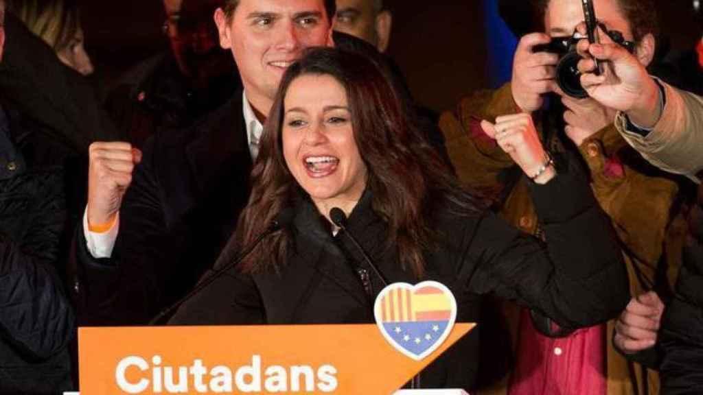 Inés Arrimadas, la noche de su victoria electoral en las elecciones catalanas de 2017.
