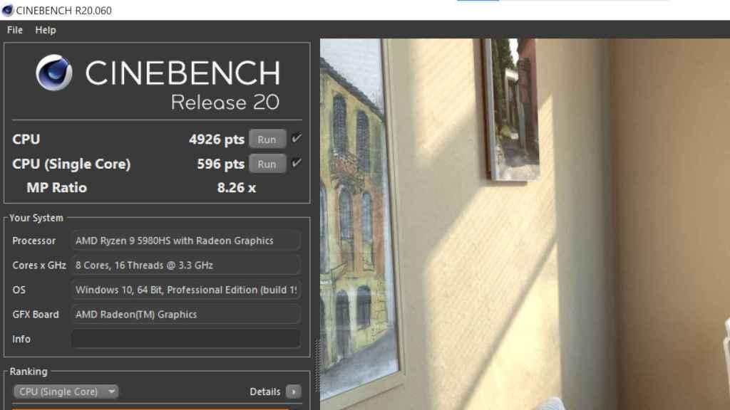 Prueba de Cinebench 20 en el Ryzen 9 5980HS