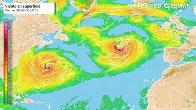 La aproximación de la borrasca Justine el viernes 29 a España. Meteored.