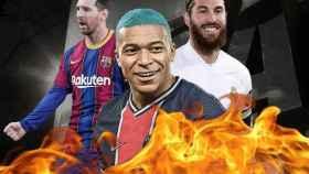 Messi, Mbappé y Sergio Ramos, en un fotomontaje
