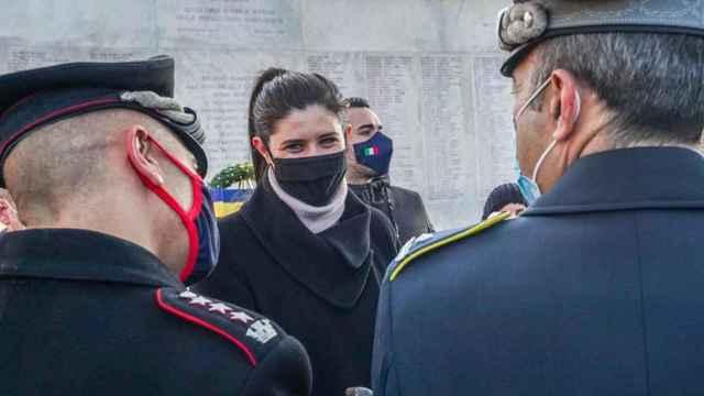 Chiara Appendino durante un acto en recuerdo del Holocausto