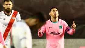 Leo Messi celebra su gol al Rayo Vallecano en la Copa del Rey