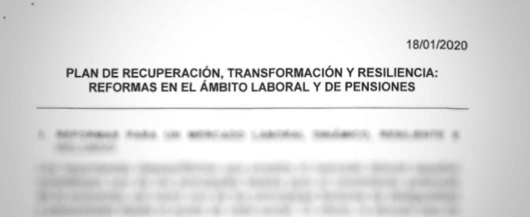 Encabezamiento de la ficha 30 enviada a la Comisión Europea: Reformas en el ámbito laboral y de pensiones.