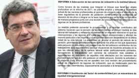 El ministro de Inclusión, Seguridad Social y Migraciones, José Luis Escrivá, junto al documento.