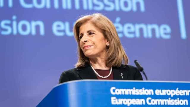 La comisaria de Sanidad, Stella Kyriakides, durante la rueda de prensa de este miércoles