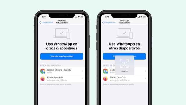 Desbloqueo de WhatsApp de escritorio usando FaceID en un iPhone