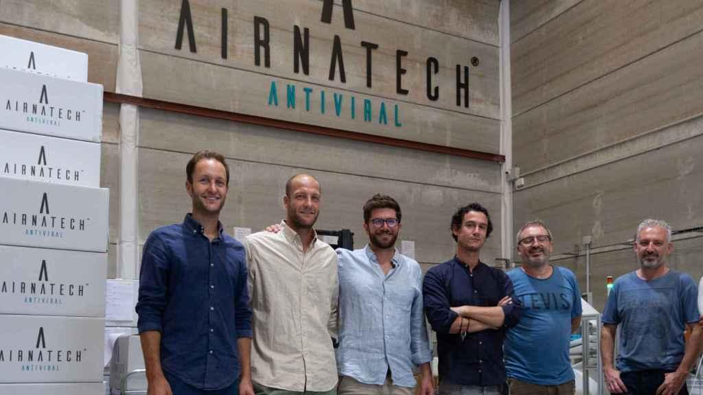 Los seis fundadores de Airnatech Antivirual, la empresa con mayor capacidad de producir mascarillas FFP2 en España.