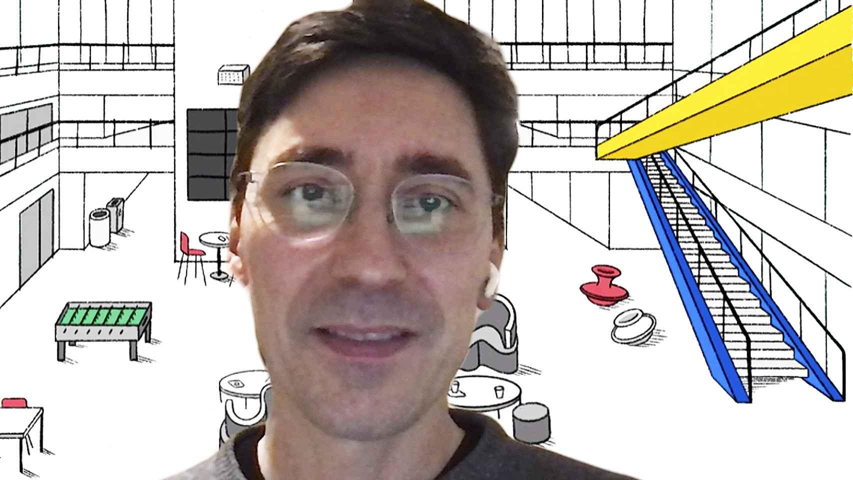 Phillipp Schmitd, director de Digital Learning and Collaboration, del MIT Media Lab, con el fondo oficial para videoconferencias de esta institución