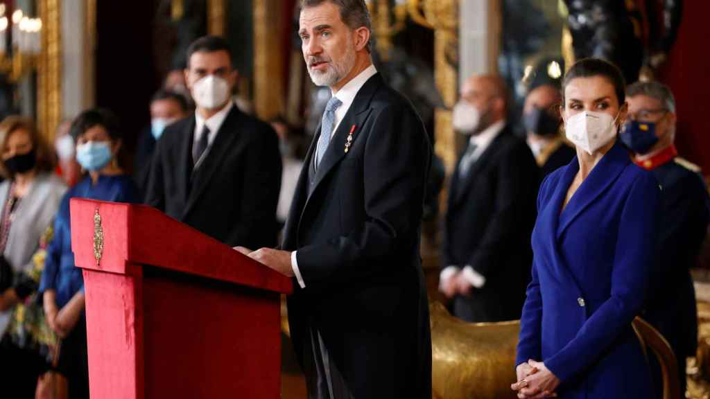 El rey Felipe VI este jueves en la recepción al cuerpo diplomático en el Palacio Real.