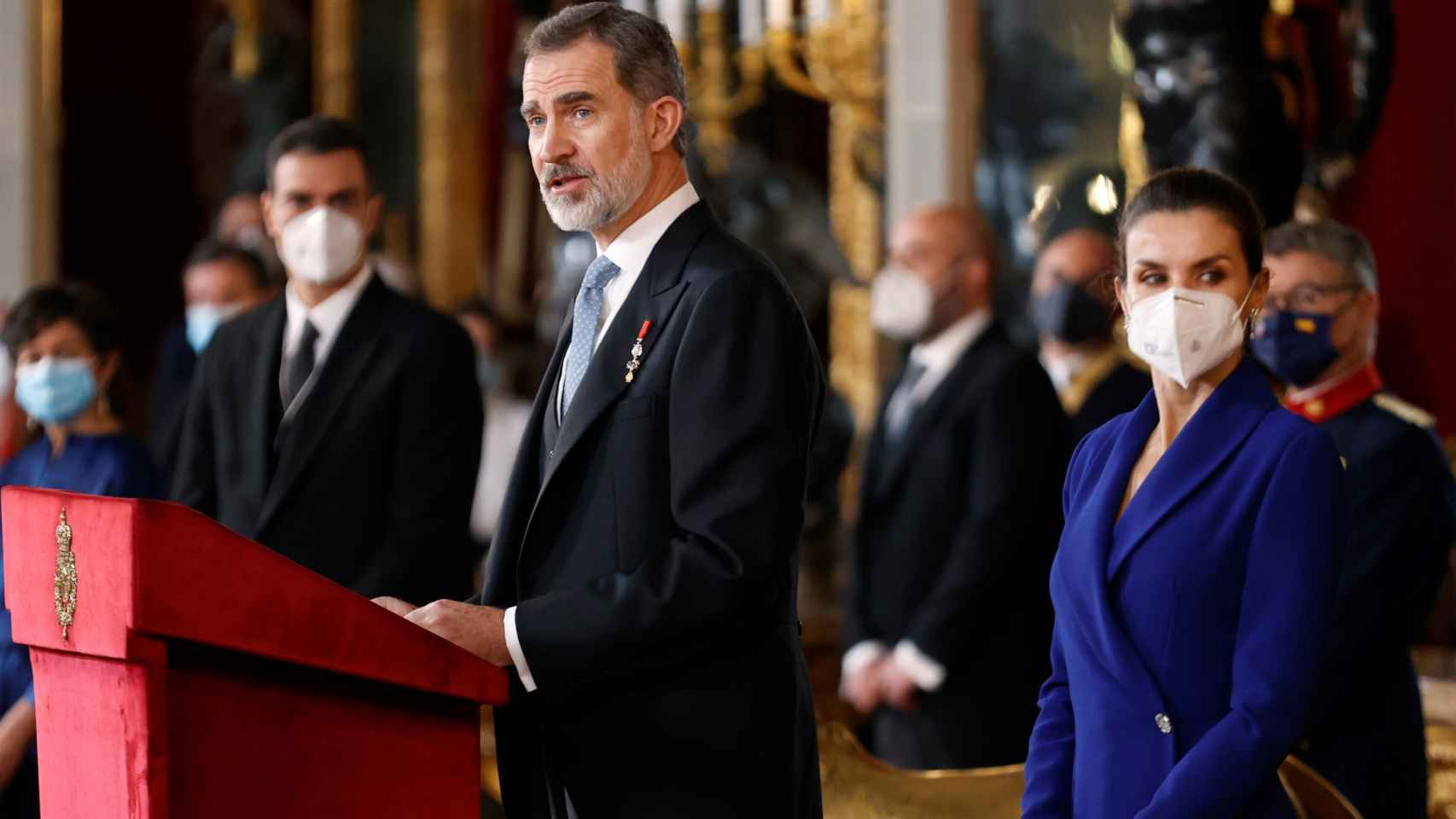 Los Reyes en la recepción de honor al cuerpo diplomático.