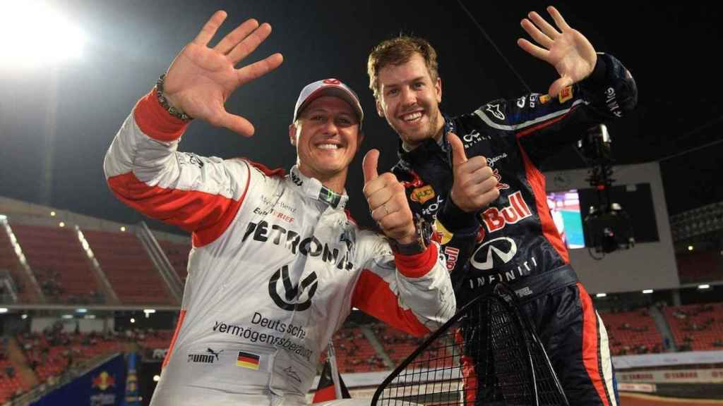 Vettel en su etapa en Red Bull con Michael Schumacher