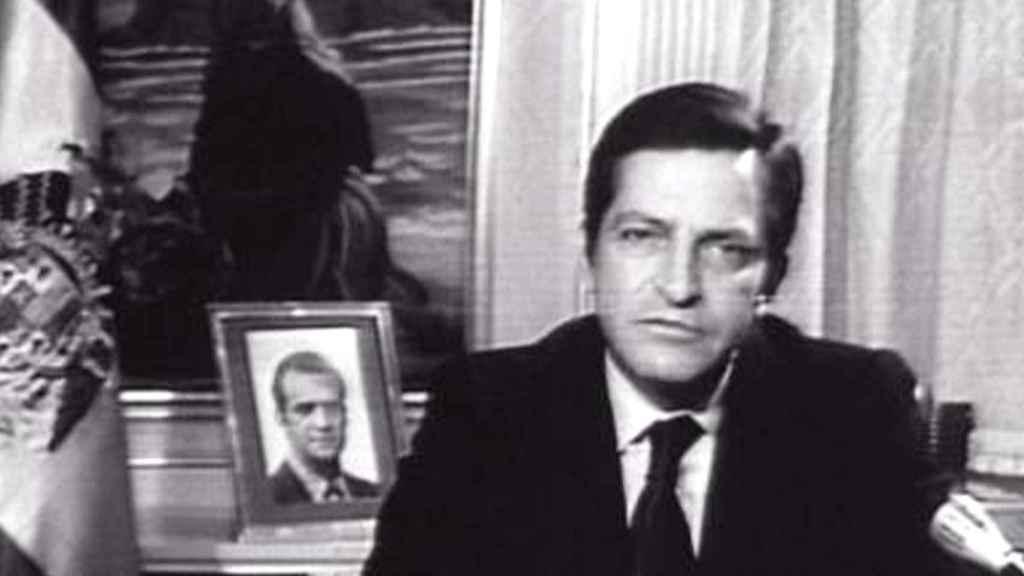 Adolfo Suárez, durante su discurso de dimisión.