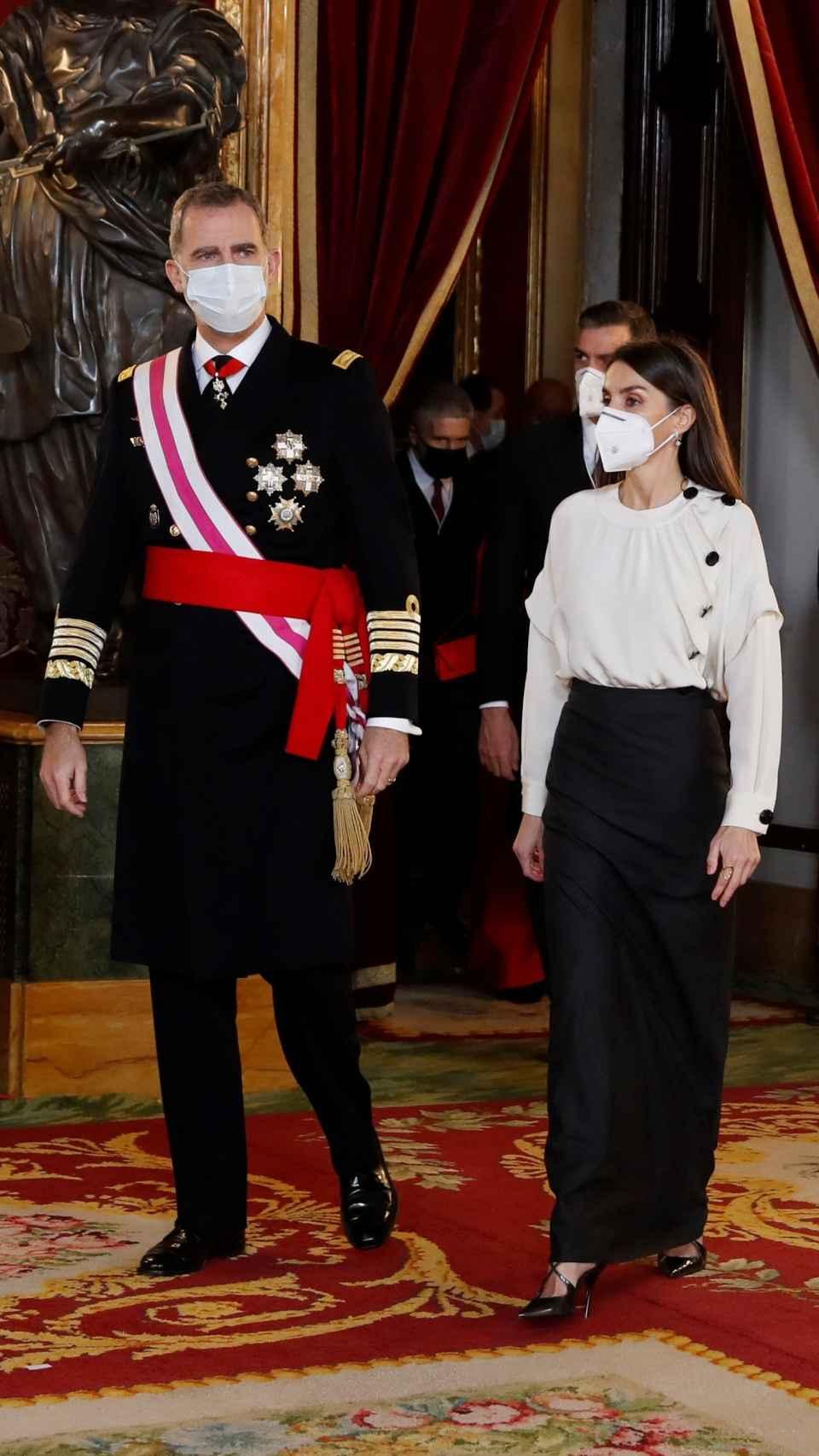 Los reyes Felipe VI y Letizia presidiendo la Pascua Militar en el Palacio Real el pasado 6 de enero.