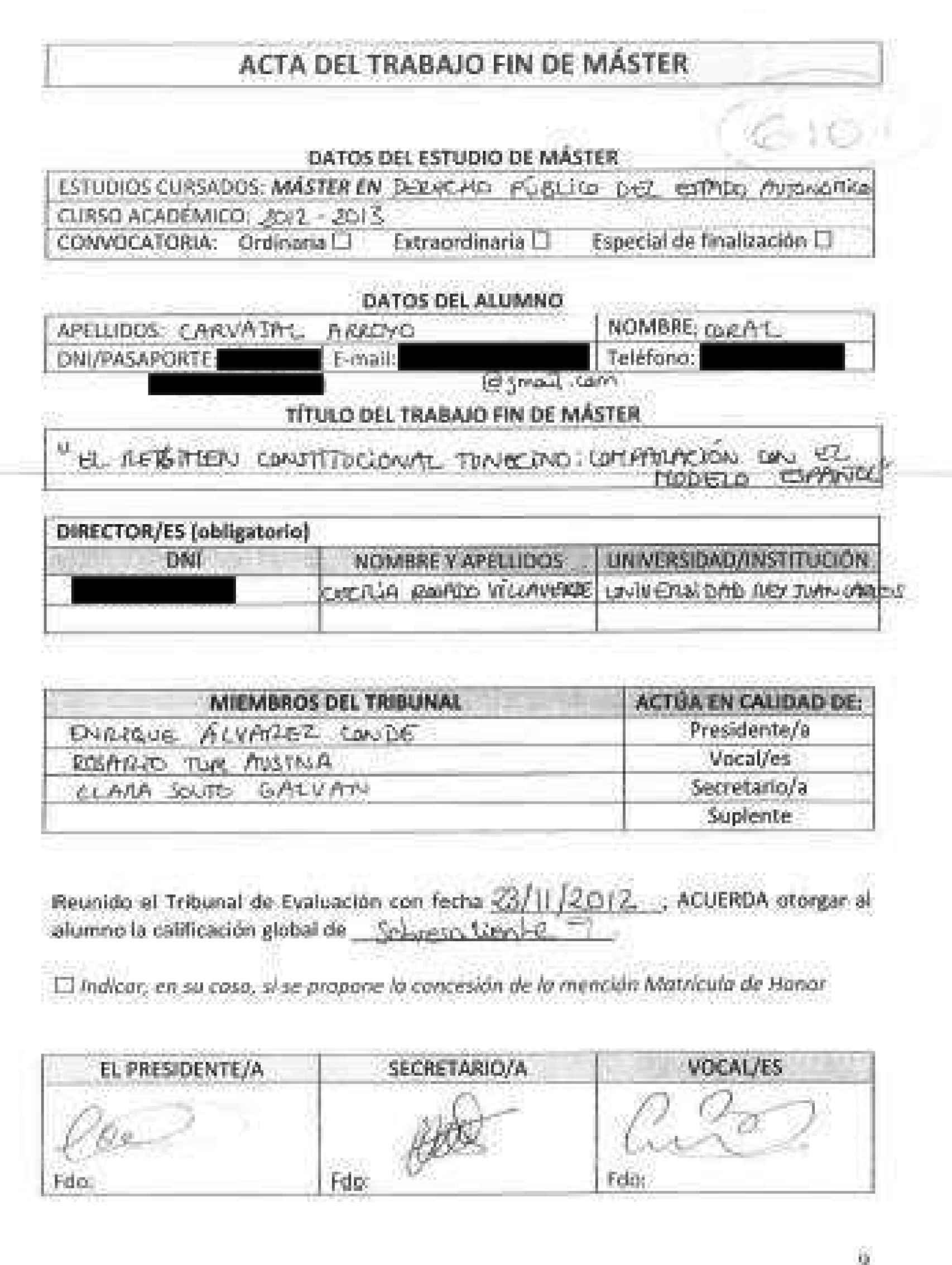 Acta del TFM./