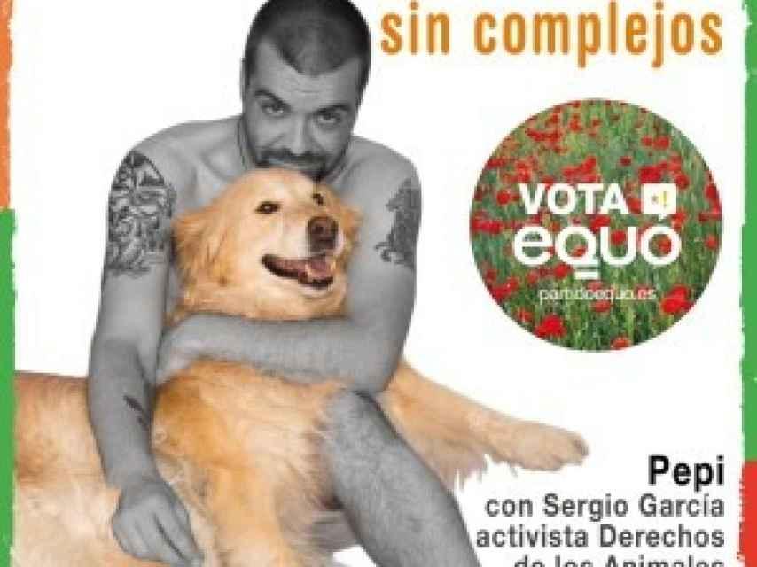 Cartel de Equo con Sergio desnudo