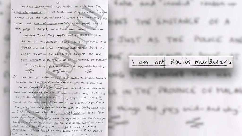 Extracto de la carta de Tony King en la que rechaza ser el autor de la muerte de Rocío.