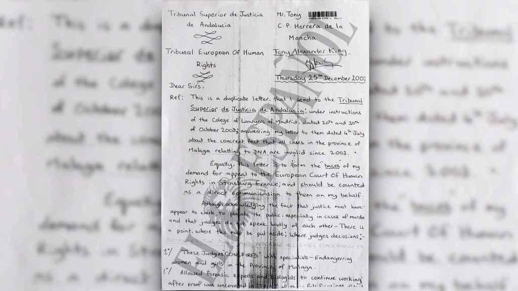La carta está enviada al TSJA y al Tribunal Europeo de Derechos Humanos. A Hornos le llegó una copia.