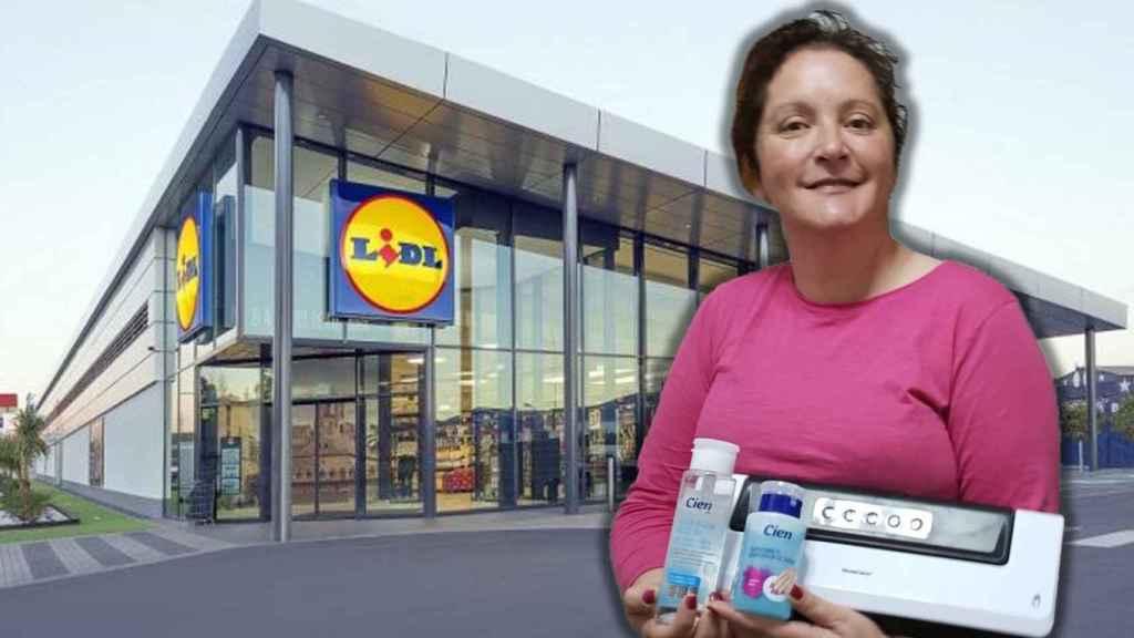 A la izquierda la hija de Teresa, una clienta muy habitual de Lidl y, a la derecha, Rosa, sujetando productos de la cadena alemana.