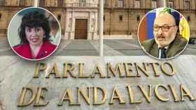 La excoordinadora de Adelante Andalucía, Teresa Rodríguez, y el portavoz de Vox, Alejandro Hernández.