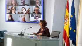 Imagen de archivo de una rueda de prensa telemática con María Jesús Montero.