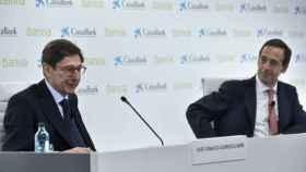 José Ignacio Goirigolzarri, durante la presentación de la fusión con CaixaBank.