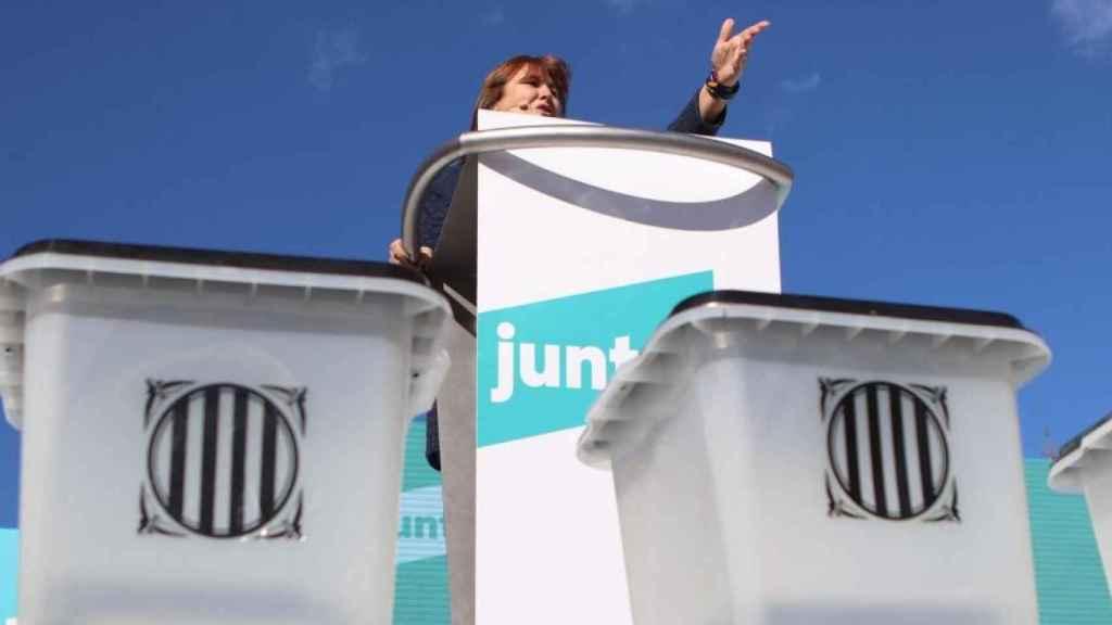 Laura Borràs, candidata de JxCat, en un acto electoral.