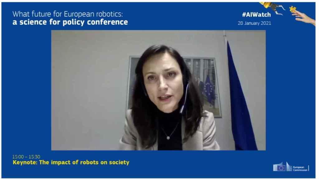 Mariya Gabriel, comisaria de Innovación, Investigación, Cultura, Educación y Juventud en la UE, durante su intervención.
