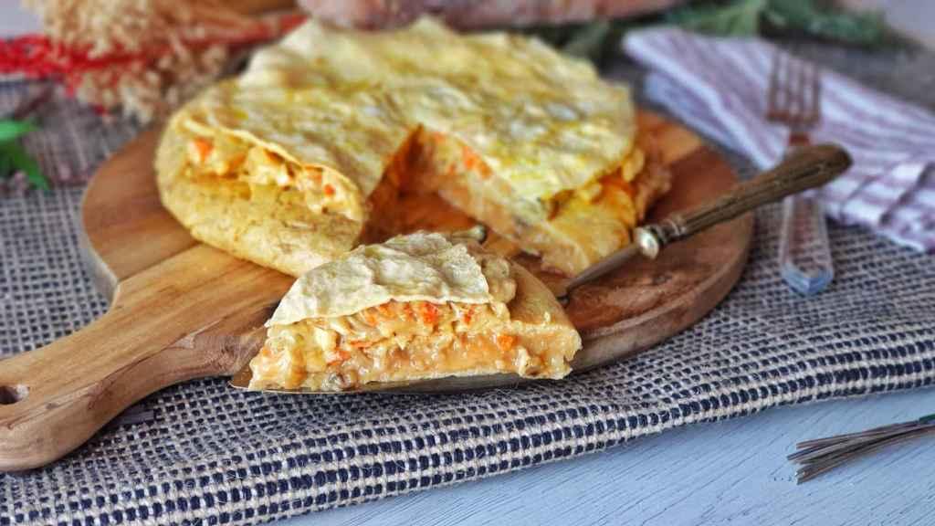 Tortilla de patatas rellena de setas a la mostaza, ¡sabor y melosidad!