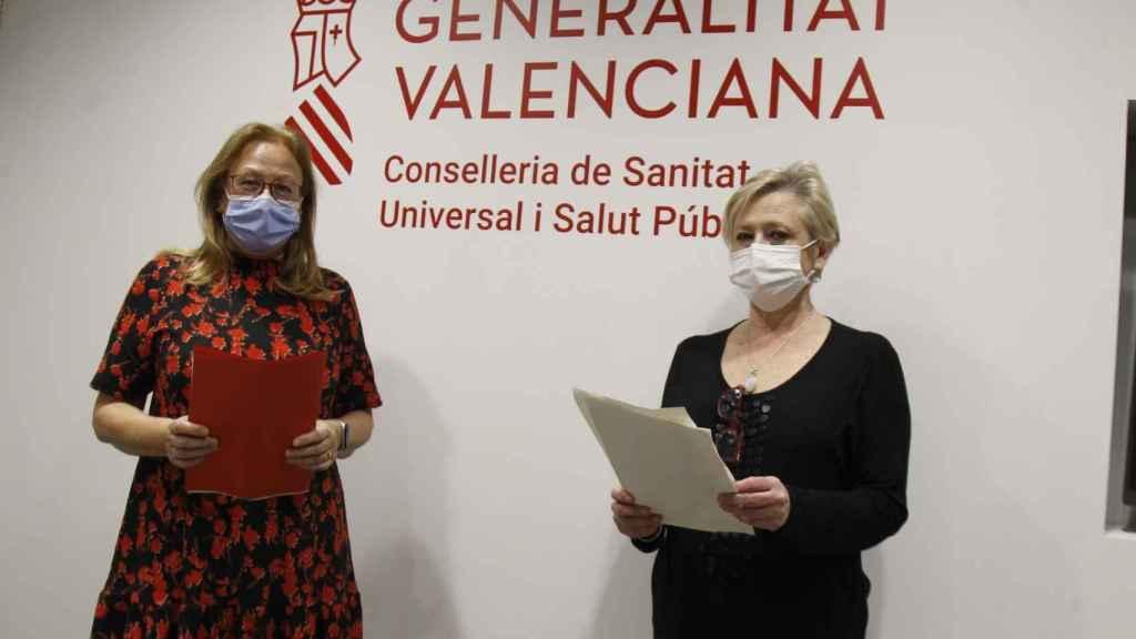 Ana Regueira, directora de enfermería de La Fe; y Mariam García Layunta, directora general de Asistencia Sanitaria. EE