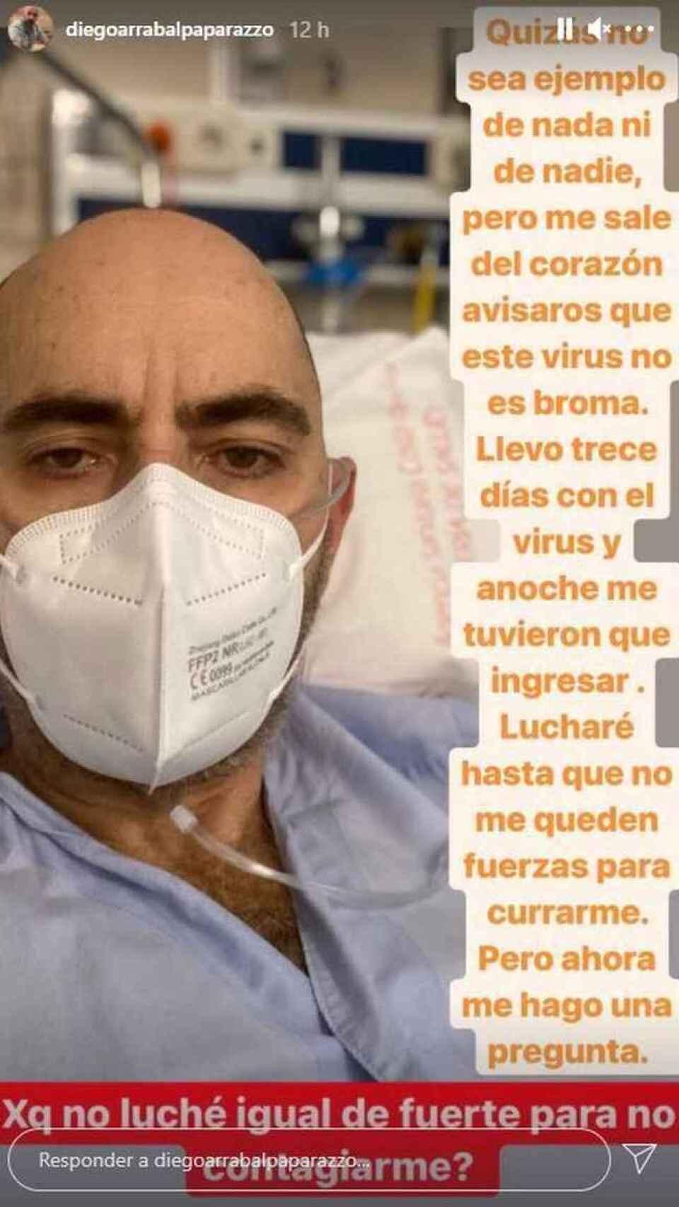 Diego Arrabal desde el hospital de Málaga donde se encontraba ingresado.