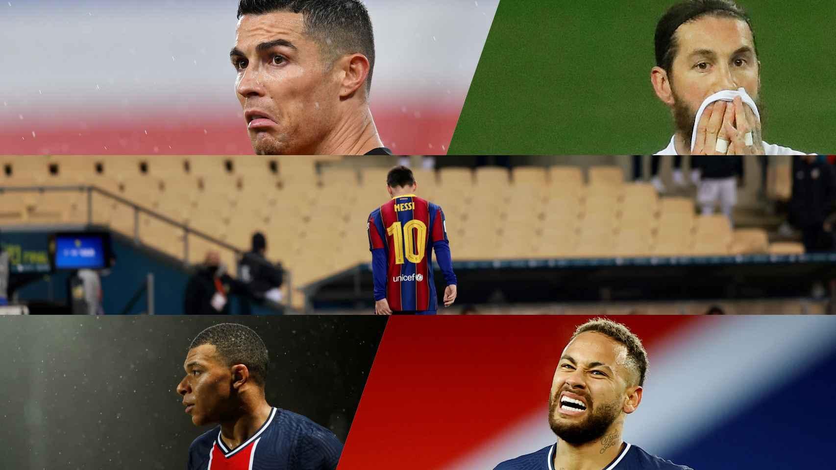 Cristiano Ronaldo, Sergio Ramos, Leo Messi, Kylian Mbappé y Neymar, en un fotomontaje
