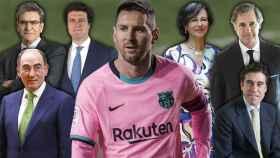 En el centro de la imagen, Leo Messi. De izda. a dcha: Ignacio Galán, José Antonio Álvarez, Ismael Clemente, Ana Botín, José Manuel Entrecanales y Manuel Manrique.