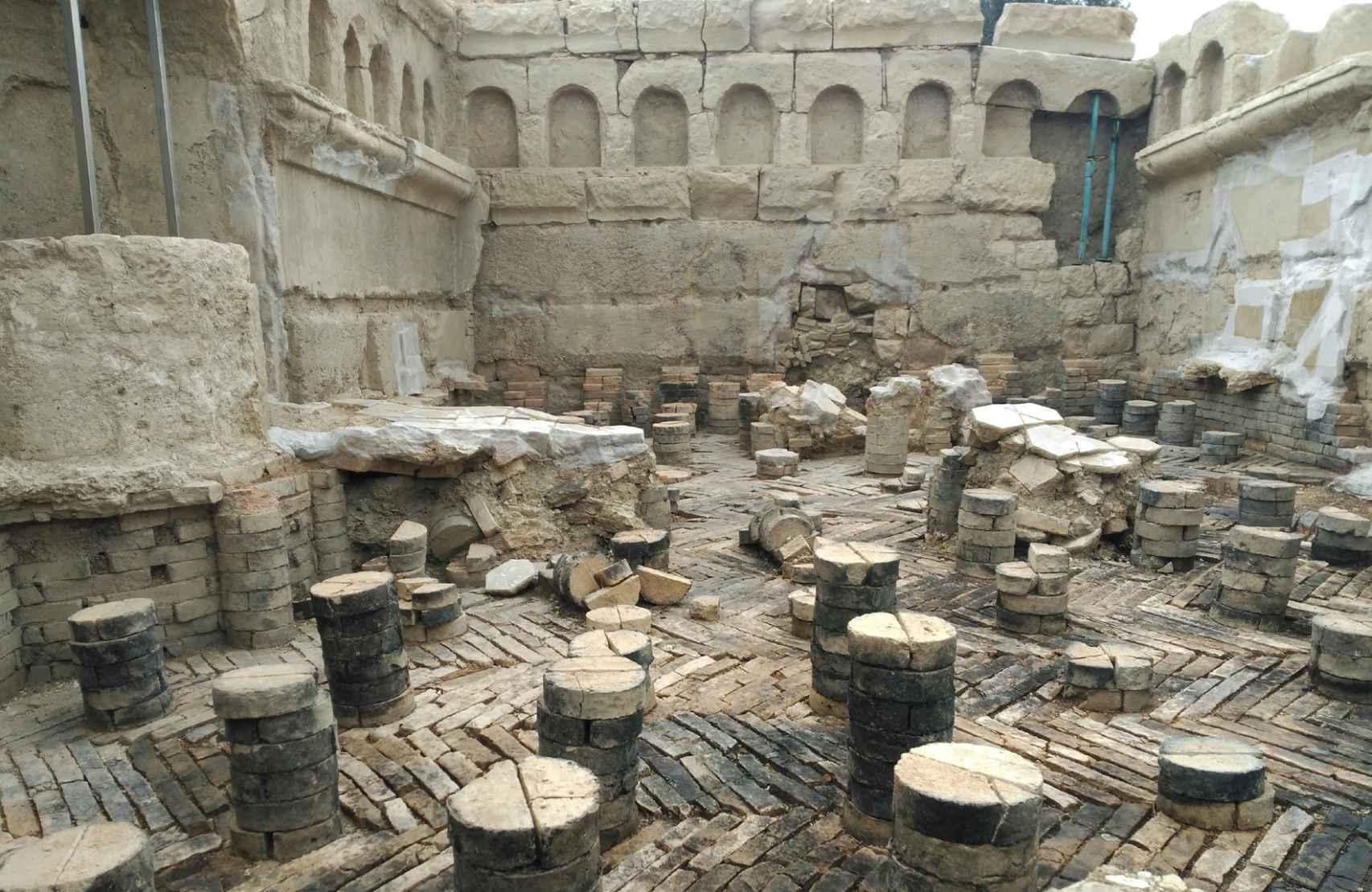 El suelo del 'caldarium' de las termas.