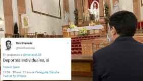 El alcalde de Alcoy, Toni Francés, en una misa en su ciudad este domingo.