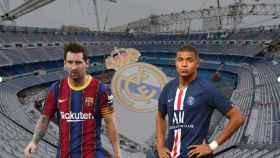Messi y Mbappé con el Santiago Bernabéu de fondo